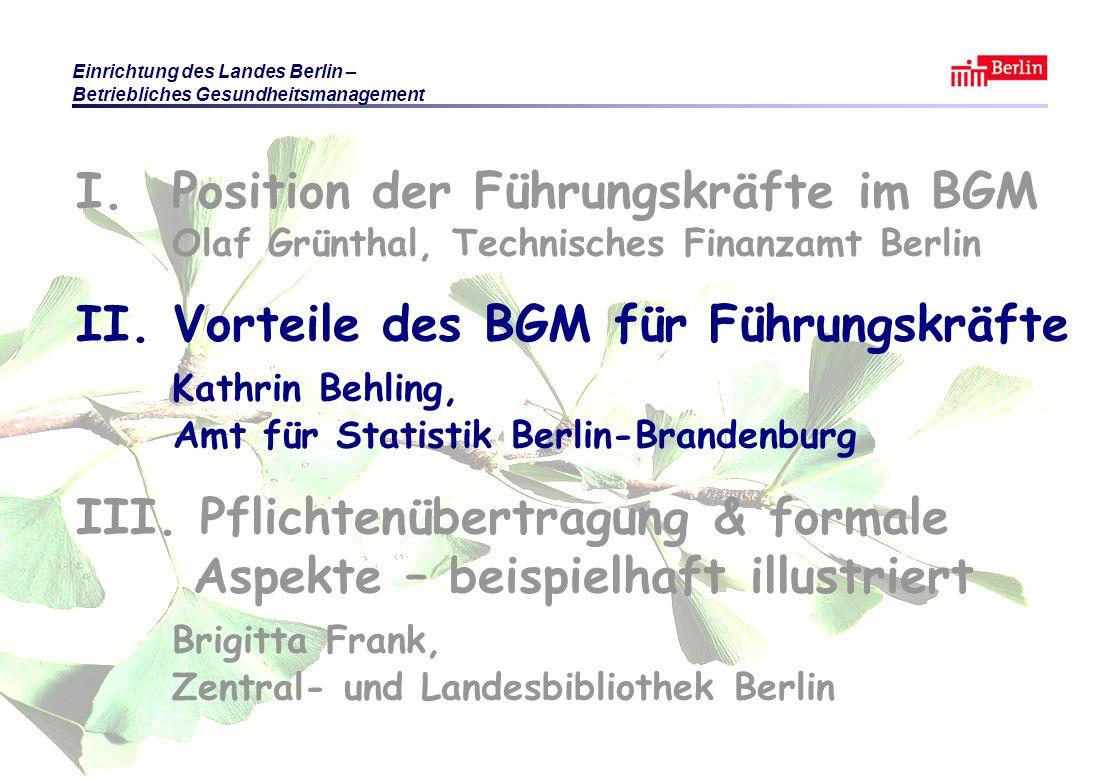 Einrichtung des Landes Berlin – Betriebliches Gesundheitsmanagement KB / BF / OG Berlin 2010 © Führungsaufgabe BGM Folie 13 I.