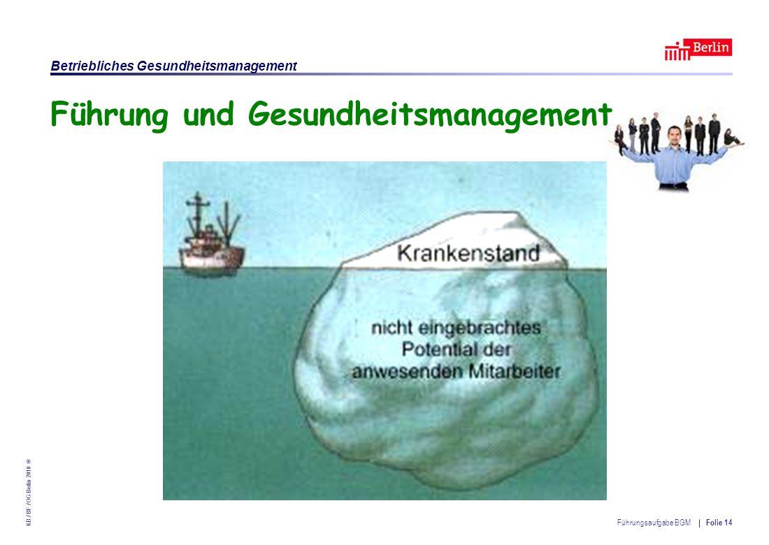 Einrichtung des Landes Berlin – Betriebliches Gesundheitsmanagement KB / BF / OG Berlin 2010 © Führungsaufgabe BGM Folie 14 Führung und Gesundheitsmanagement