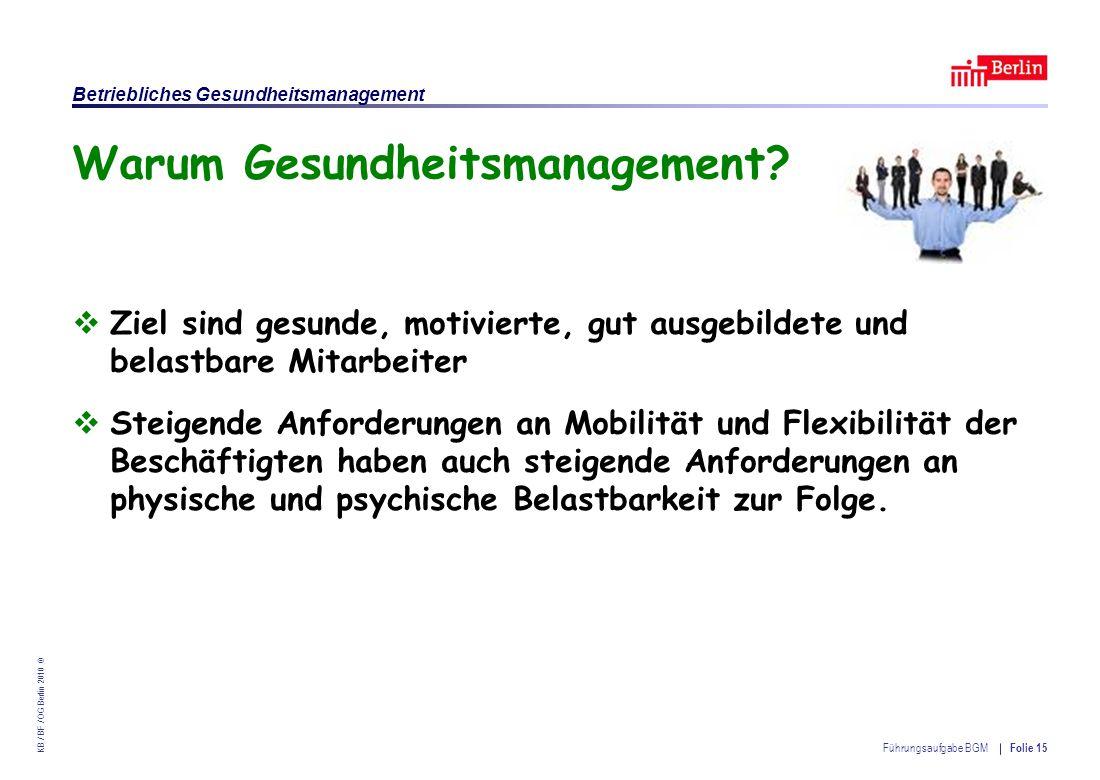 Einrichtung des Landes Berlin – Betriebliches Gesundheitsmanagement KB / BF / OG Berlin 2010 © Führungsaufgabe BGM Folie 15 Warum Gesundheitsmanagement.