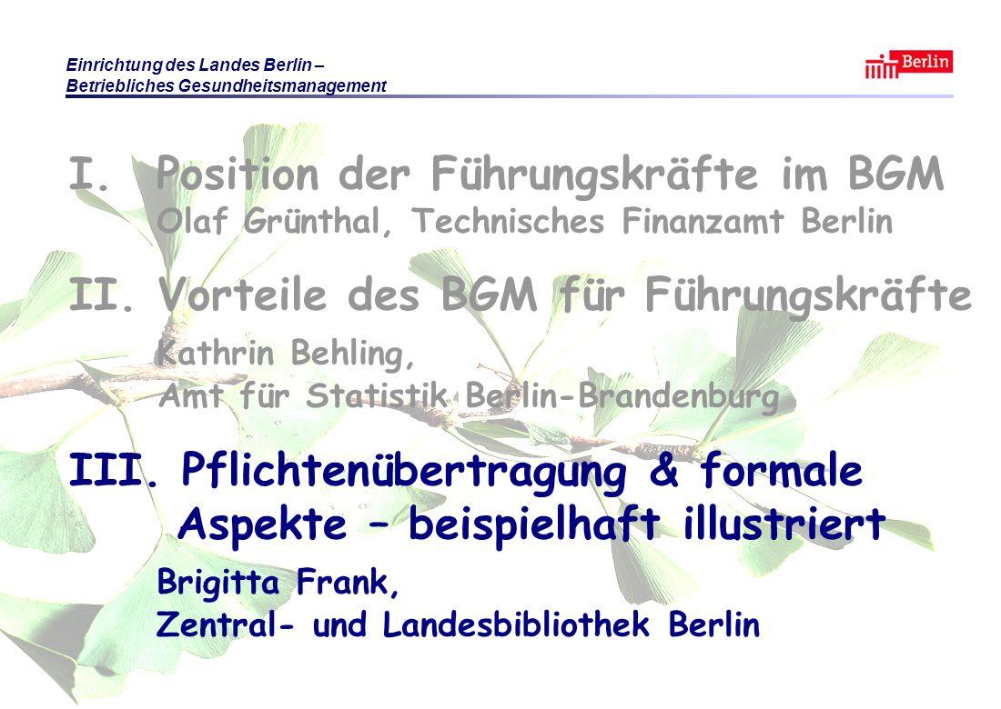 Einrichtung des Landes Berlin – Betriebliches Gesundheitsmanagement KB / BF / OG Berlin 2010 © Führungsaufgabe BGM Folie 20 I.