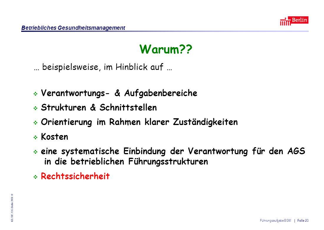 Einrichtung des Landes Berlin – Betriebliches Gesundheitsmanagement KB / BF / OG Berlin 2010 © Führungsaufgabe BGM Folie 23 Warum?.
