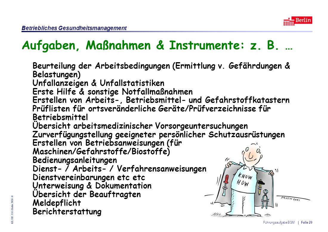 Einrichtung des Landes Berlin – Betriebliches Gesundheitsmanagement KB / BF / OG Berlin 2010 © Führungsaufgabe BGM Folie 29 Aufgaben, Maßnahmen & Instrumente: z.
