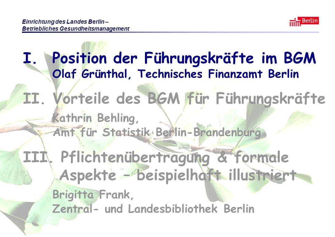 Einrichtung des Landes Berlin – Betriebliches Gesundheitsmanagement KB / BF / OG Berlin 2010 © Führungsaufgabe BGM Folie 5 Betriebliches Gesundheitsmanagement hat viele Facetten Arbeits- und Gesundheitsschutz, darin z.