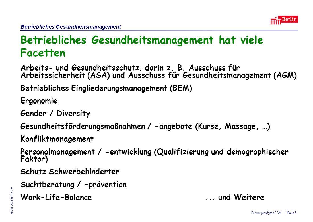 Einrichtung des Landes Berlin – Betriebliches Gesundheitsmanagement KB / BF / OG Berlin 2010 © Führungsaufgabe BGM Folie 26 § 3 ArbSchG – Grundpflichten des Arbeitgebers (1) Der AG ist verpflichtet, die erforderlichen Maßnahmen des Arbeitsschutzes … zu treffen etc.