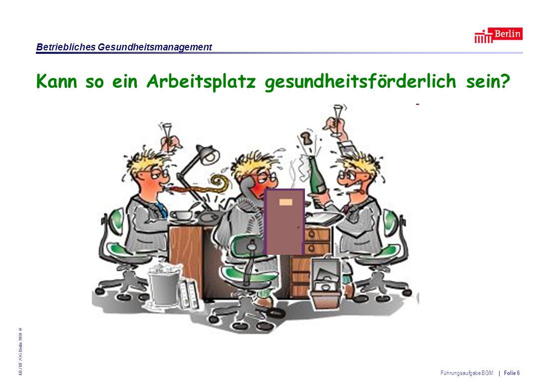 Einrichtung des Landes Berlin – Betriebliches Gesundheitsmanagement KB / BF / OG Berlin 2010 © Führungsaufgabe BGM Folie 27 § 13 ArbSchG – Verantwortliche Personen (1)Verantwortlich für die Erfüllung der … Pflichten sind neben dem Arbeitgeber 1.