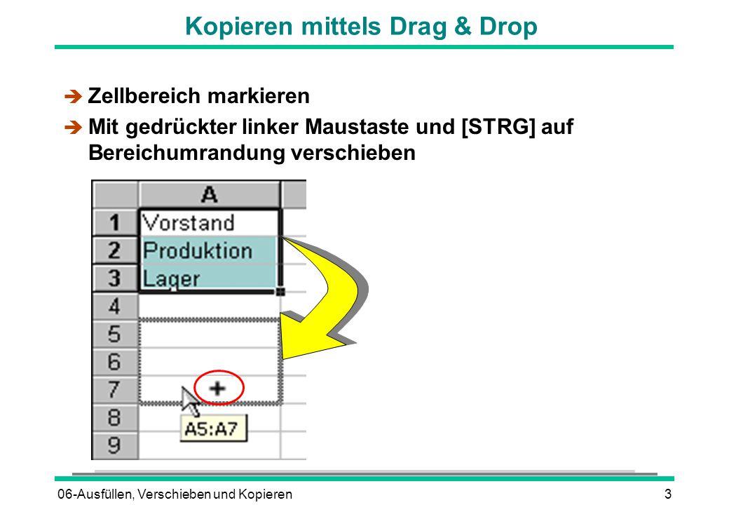 06-Ausfüllen, Verschieben und Kopieren3 Kopieren mittels Drag & Drop è Zellbereich markieren  Mit gedrückter linker Maustaste und [STRG] auf Bereichumrandung verschieben