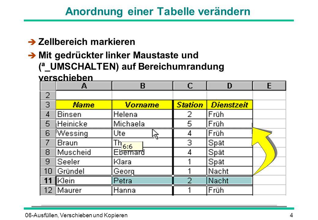 06-Ausfüllen, Verschieben und Kopieren4 Anordnung einer Tabelle verändern è Zellbereich markieren  Mit gedrückter linker Maustaste und (ª_UMSCHALTEN)