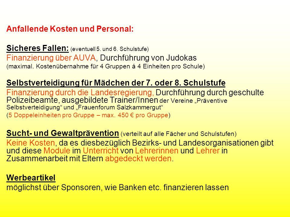 Anfallende Kosten und Personal: Sicheres Fallen: (eventuell 5.