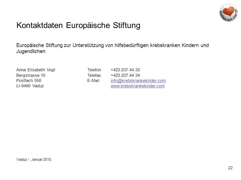 22 Kontaktdaten Europäische Stiftung Europäische Stiftung zur Unterstützung von hilfsbedürftigen krebskranken Kindern und Jugendlichen Anna Elisabeth