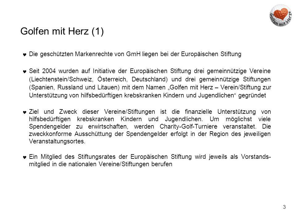 3 Golfen mit Herz (1)  Die geschützten Markenrechte von GmH liegen bei der Europäischen Stiftung  Seit 2004 wurden auf Initiative der Europäischen S