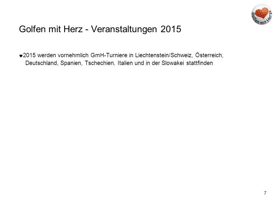 7 Golfen mit Herz - Veranstaltungen 2015  2015 werden vornehmlich GmH-Turniere in Liechtenstein/Schweiz, Österreich, Deutschland, Spanien, Tschechien