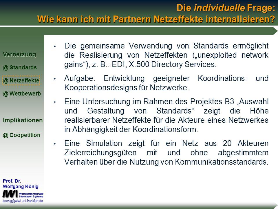 Vernetzung @ Standards @ Netzeffekte @ WettbewerbImplikationen @ Coopetition Prof. Dr. Wolfgang König koenig@wiwi.uni-frankfurt.de Die kollektive Frag