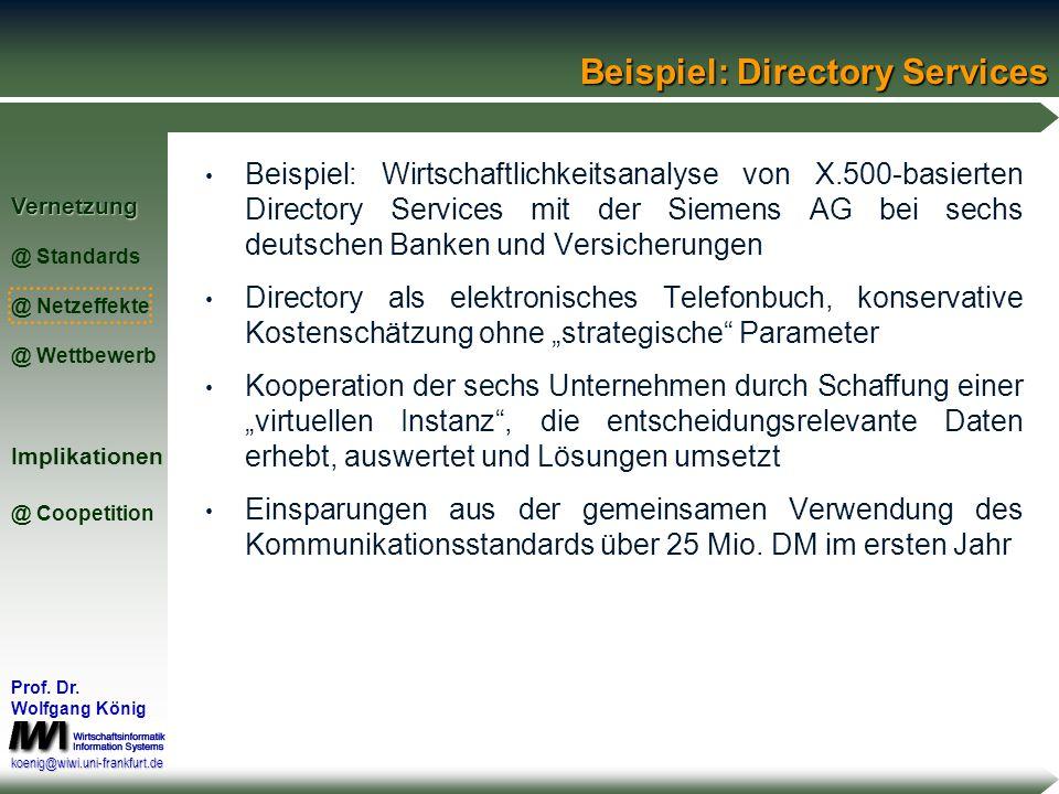 Vernetzung @ Standards @ Netzeffekte @ WettbewerbImplikationen @ Coopetition Prof. Dr. Wolfgang König koenig@wiwi.uni-frankfurt.de Netzeffekte und Koo