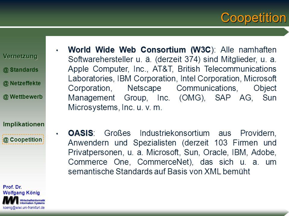Vernetzung @ Standards @ Netzeffekte @ WettbewerbImplikationen @ Coopetition Prof. Dr. Wolfgang König koenig@wiwi.uni-frankfurt.deCoopetition Coopetit