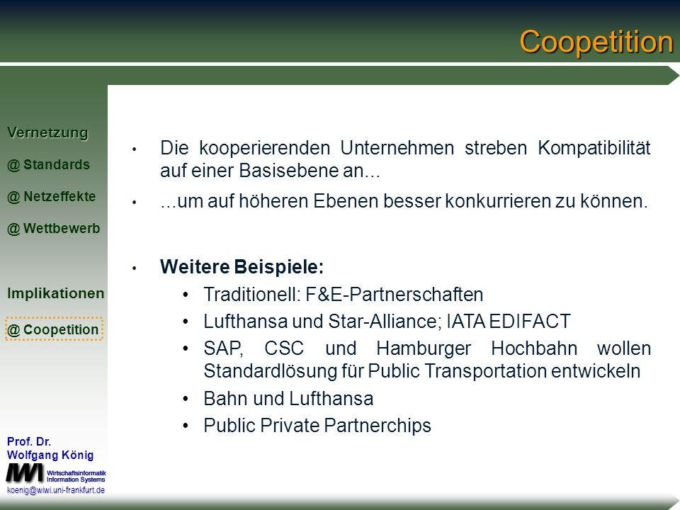 Vernetzung @ Standards @ Netzeffekte @ WettbewerbImplikationen @ Coopetition Prof. Dr. Wolfgang König koenig@wiwi.uni-frankfurt.deCoopetition World Wi