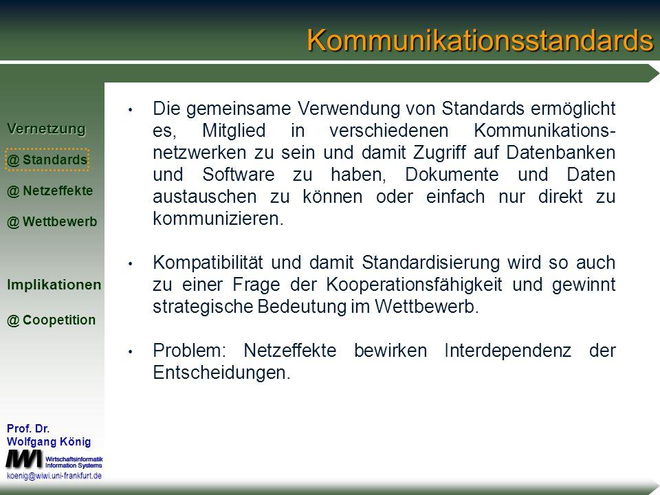 Vernetzung @ Standards @ Netzeffekte @ WettbewerbImplikationen @ Coopetition Prof. Dr. Wolfgang König koenig@wiwi.uni-frankfurt.de Standardisierung im