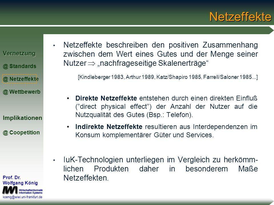 Vernetzung @ Standards @ Netzeffekte @ WettbewerbImplikationen @ Coopetition Prof. Dr. Wolfgang König koenig@wiwi.uni-frankfurt.deKommunikationsstanda