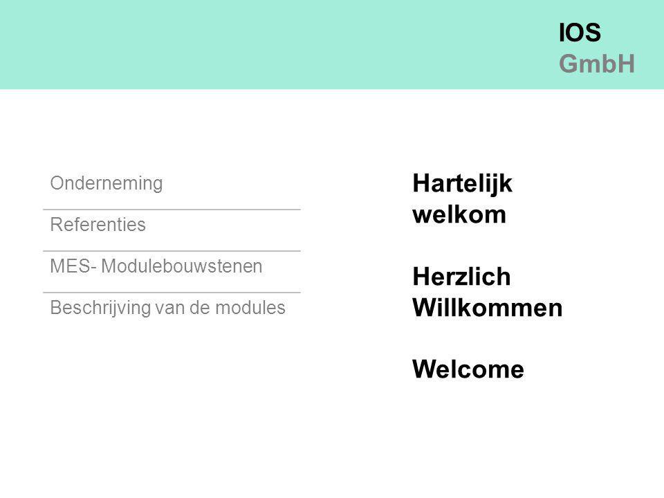 IOS GmbH Onderneming Referenties MES- Modulebouwstenen Beschrijving van de modules Hartelijk welkom Herzlich Willkommen Welcome