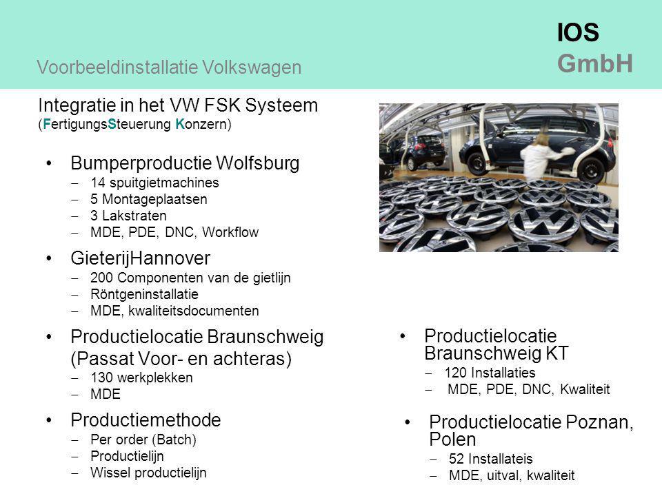 IOS GmbH Bumperproductie Wolfsburg  14 spuitgietmachines  5 Montageplaatsen  3 Lakstraten  MDE, PDE, DNC, Workflow GieterijHannover  200 Componenten van de gietlijn  Röntgeninstallatie  MDE, kwaliteitsdocumenten Productielocatie Braunschweig (Passat Voor- en achteras)  130 werkplekken  MDE Productiemethode  Per order (Batch)  Productielijn  Wissel productielijn Voorbeeldinstallatie Volkswagen Productielocatie Braunschweig KT  120 Installaties  MDE, PDE, DNC, Kwaliteit Integratie in het VW FSK Systeem (FertigungsSteuerung Konzern) Productielocatie Poznan, Polen  52 Installateis  MDE, uitval, kwaliteit