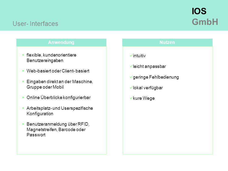 IOS GmbH Anwendung User- Interfaces Nutzen intuitiv leicht anpassbar geringe Fehlbedienung lokal verfügbar kure Wege  flexible, kundenorientiere Benutzereingaben  Web-basiert oder Client- basiert  Eingaben direkt an der Maschine, Gruppe oder Mobil  Online Überblicke konfigurierbar  Arbeitsplatz- und Userspezifische Konfiguration  Benutzeranmeldung über RFID, Magnetstreifen, Barcode oder Passwort