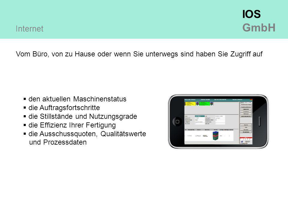 IOS GmbH Internet Vom Büro, von zu Hause oder wenn Sie unterwegs sind haben Sie Zugriff auf  den aktuellen Maschinenstatus  die Auftragsfortschritte  die Stillstände und Nutzungsgrade  die Effizienz Ihrer Fertigung  die Ausschussquoten, Qualitätswerte und Prozessdaten