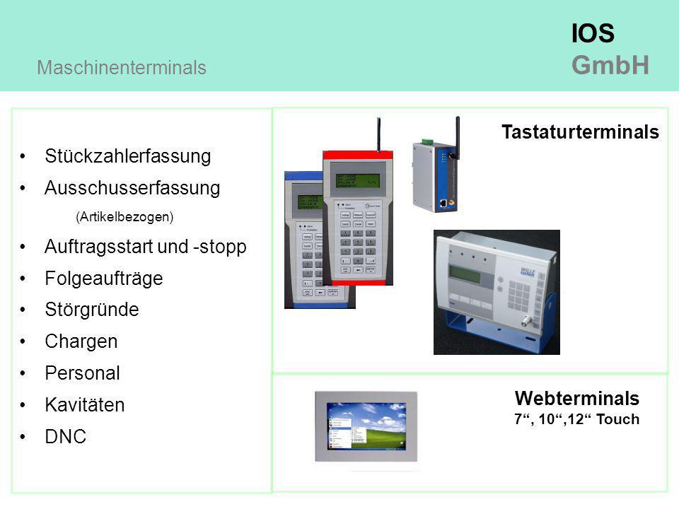IOS GmbH Stückzahlerfassung Ausschusserfassung (Artikelbezogen) Auftragsstart und -stopp Folgeaufträge Störgründe Chargen Personal Kavitäten DNC Maschinenterminals Tastaturterminals Webterminals 7 , 10 ,12 Touch