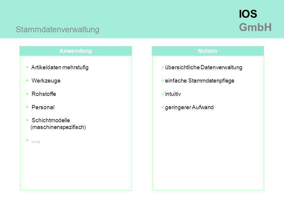 IOS GmbH Anwendung Stammdatenverwaltung  Artikeldaten mehrstufig  Werkzeuge  Rohstoffe  Personal  Schichtmodelle (maschinenspezifisch)  …..