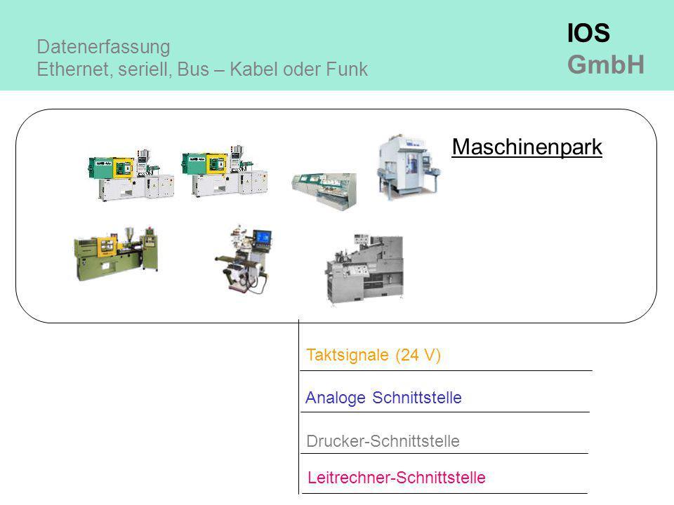 IOS GmbH Datenerfassung Ethernet, seriell, Bus – Kabel oder Funk Maschinenpark Taktsignale (24 V) Drucker-Schnittstelle Leitrechner-Schnittstelle Analoge Schnittstelle