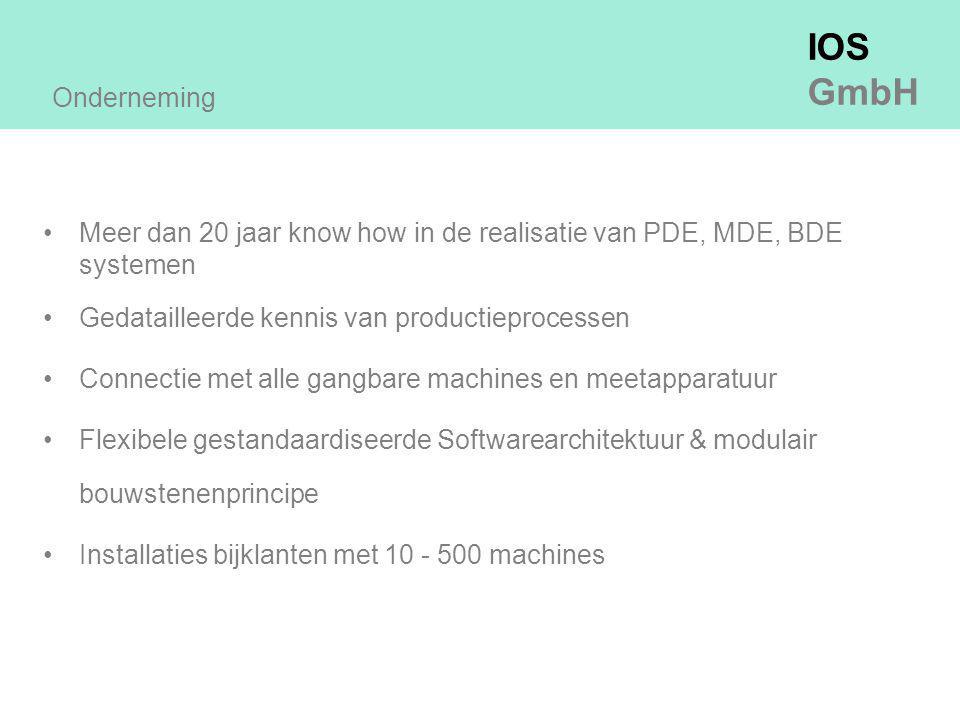 IOS GmbH Meer dan 20 jaar know how in de realisatie van PDE, MDE, BDE systemen Gedatailleerde kennis van productieprocessen Connectie met alle gangbare machines en meetapparatuur Flexibele gestandaardiseerde Softwarearchitektuur & modulair bouwstenenprincipe Installaties bijklanten met 10 - 500 machines Onderneming