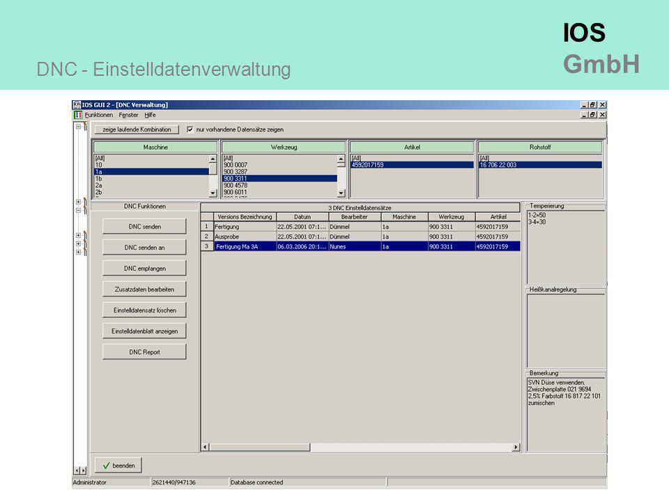 IOS GmbH DNC - Einstelldatenverwaltung