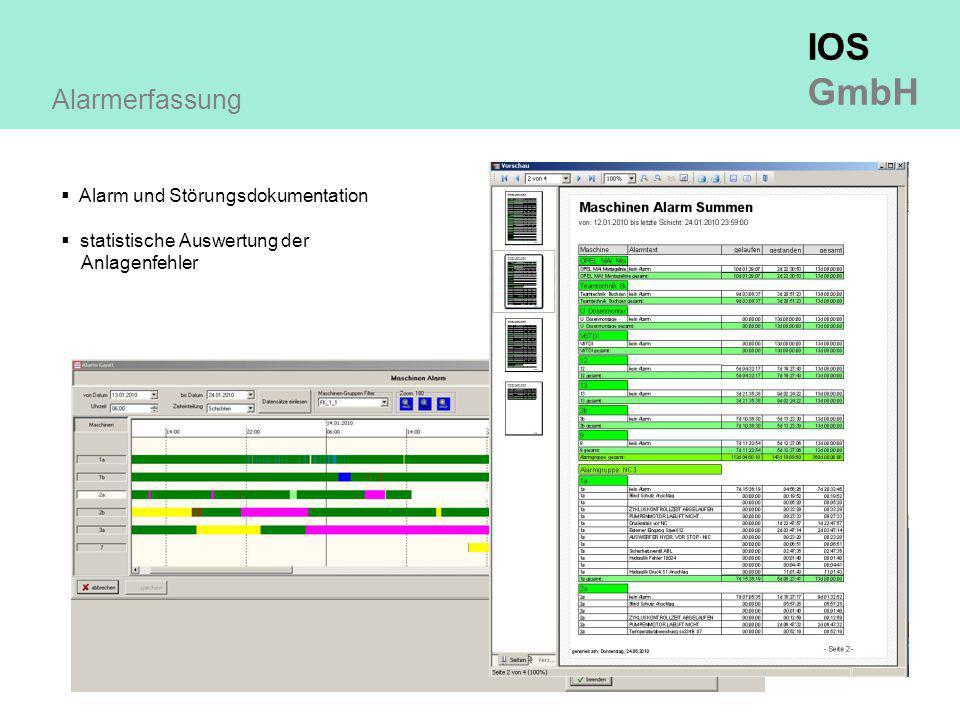 IOS GmbH Alarmerfassung  Alarm und Störungsdokumentation  statistische Auswertung der Anlagenfehler