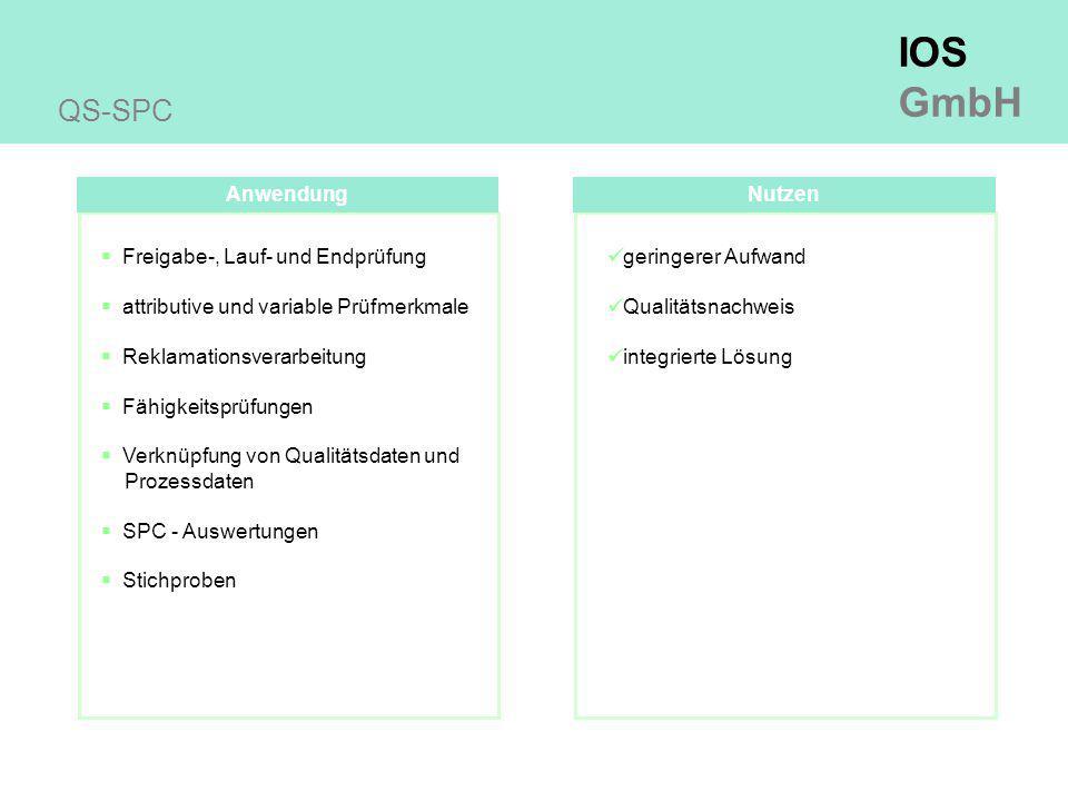 IOS GmbH Anwendung QS-SPC  Freigabe-, Lauf- und Endprüfung  attributive und variable Prüfmerkmale  Reklamationsverarbeitung  Fähigkeitsprüfungen  Verknüpfung von Qualitätsdaten und Prozessdaten  SPC - Auswertungen  Stichproben Nutzen geringerer Aufwand Qualitätsnachweis integrierte Lösung