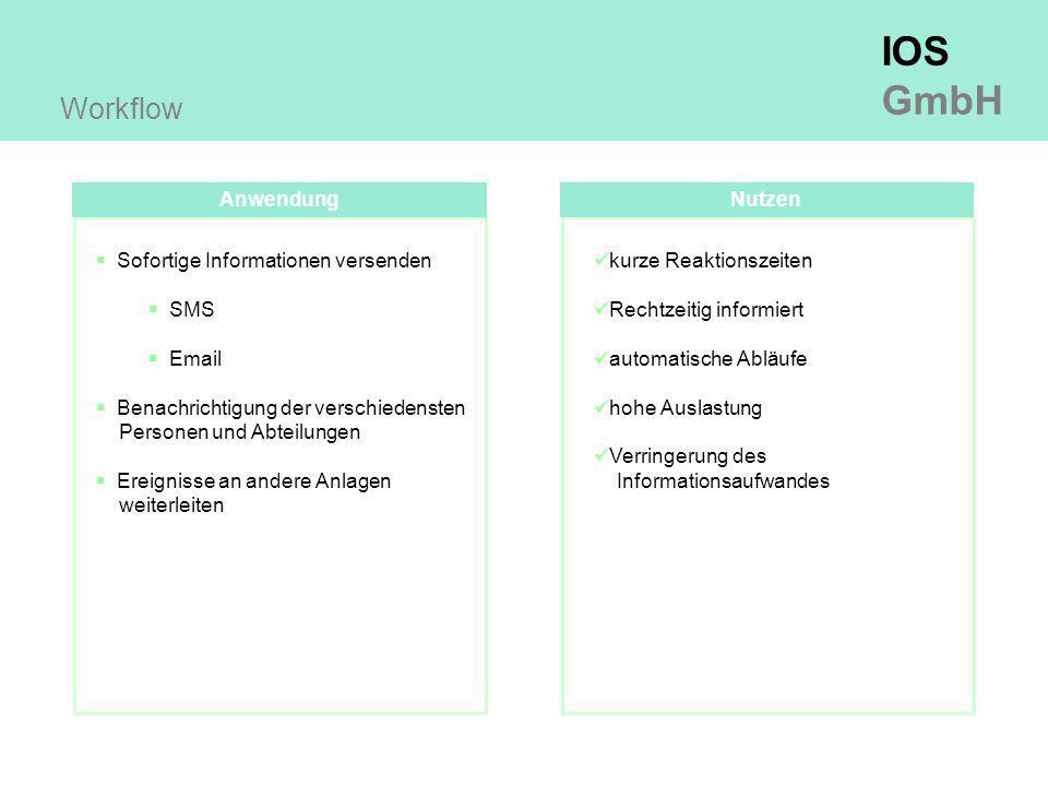 IOS GmbH Anwendung Workflow  Sofortige Informationen versenden  SMS  Email  Benachrichtigung der verschiedensten Personen und Abteilungen  Ereignisse an andere Anlagen weiterleiten Nutzen kurze Reaktionszeiten Rechtzeitig informiert automatische Abläufe hohe Auslastung Verringerung des Informationsaufwandes