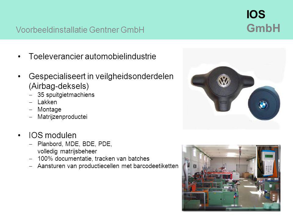 IOS GmbH Toeleverancier automobielindustrie Gespecialiseert in veilgheidsonderdelen (Airbag-deksels)  35 spuitgietmachiens  Lakken  Montage  Matrijzenproductei IOS modulen  Planbord, MDE, BDE, PDE, volledig matrijsbeheer  100% documentatie, tracken van batches  Aansturen van productiecellen met barcodeetiketten Voorbeeldinstallatie Gentner GmbH