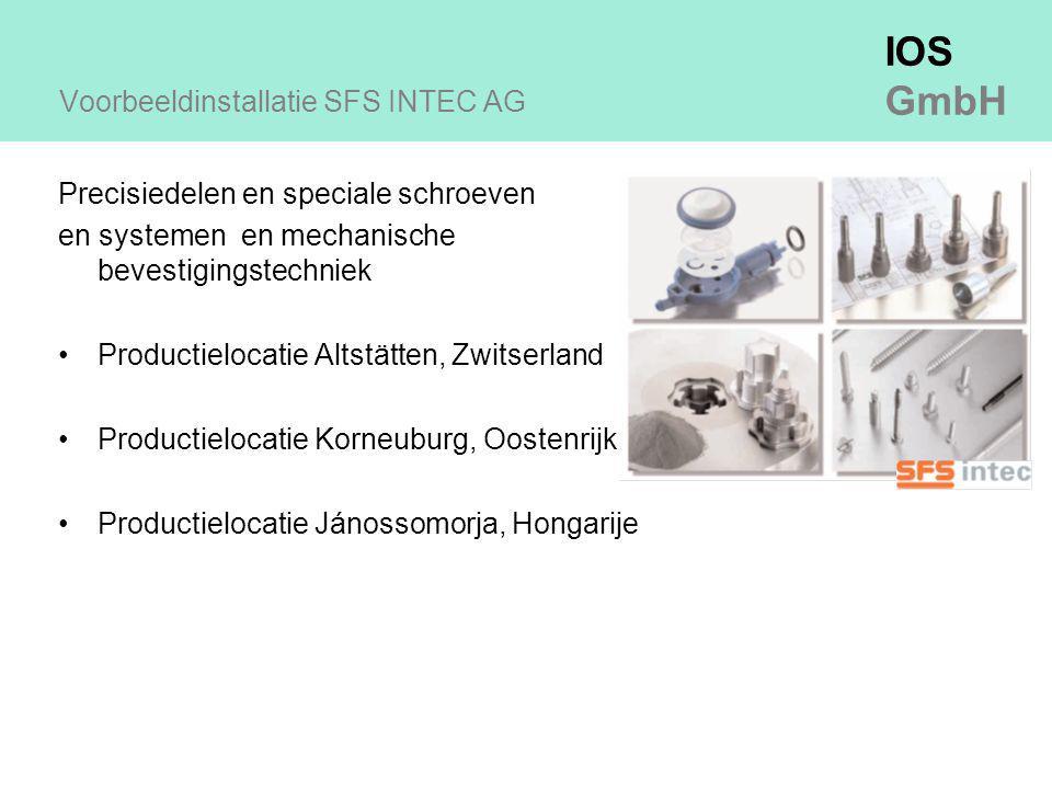 IOS GmbH Voorbeeldinstallatie SFS INTEC AG Precisiedelen en speciale schroeven en systemen en mechanische bevestigingstechniek Productielocatie Altstätten, Zwitserland Productielocatie Korneuburg, Oostenrijk Productielocatie Jánossomorja, Hongarije