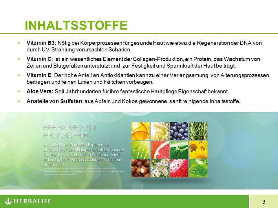 3 INHALTSSTOFFE Vitamin B3: Nötig bei Körperprozessen für gesunde Haut wie etwa die Regeneration der DNA von durch UV-Strahlung verursachten Schäden.