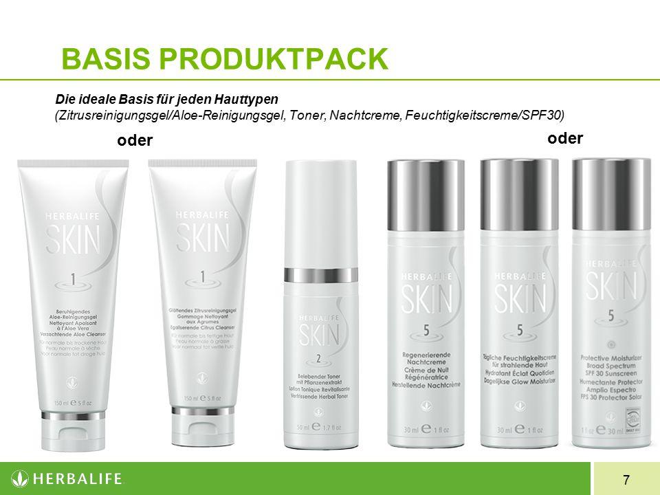 7 BASIS PRODUKTPACK Die ideale Basis für jeden Hauttypen (Zitrusreinigungsgel/Aloe-Reinigungsgel, Toner, Nachtcreme, Feuchtigkeitscreme/SPF30) oder