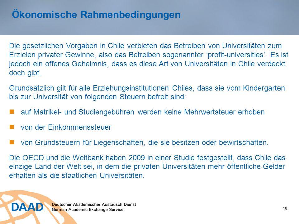 Ökonomische Rahmenbedingungen 10 Die gesetzlichen Vorgaben in Chile verbieten das Betreiben von Universitäten zum Erzielen privater Gewinne, also das Betreiben sogenannter 'profit-universities'.