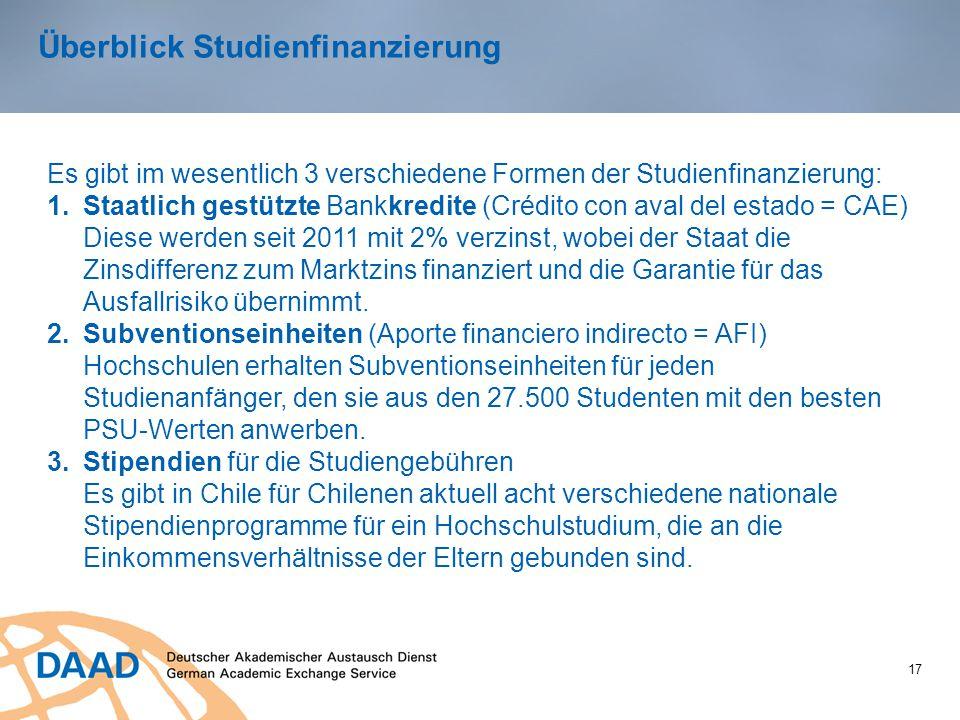 Überblick Studienfinanzierung 17 Es gibt im wesentlich 3 verschiedene Formen der Studienfinanzierung: 1.Staatlich gestützte Bankkredite (Crédito con a