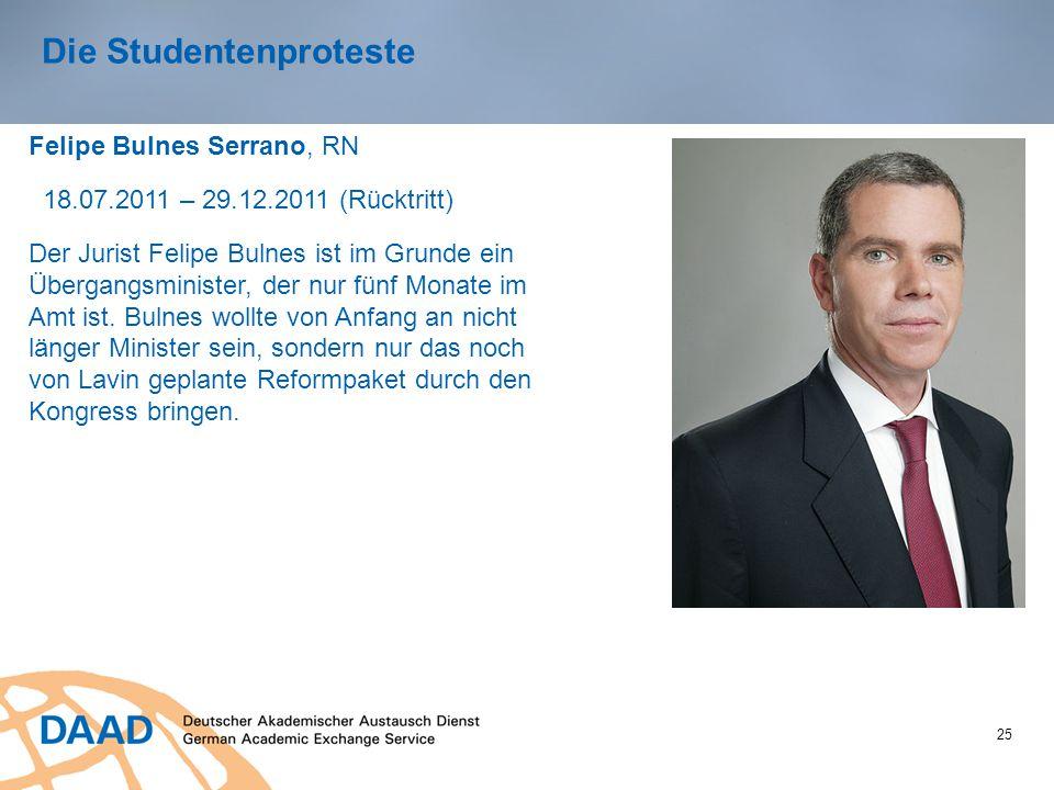 25 Die Studentenproteste Felipe Bulnes Serrano, RN 18.07.2011 – 29.12.2011 (Rücktritt) Der Jurist Felipe Bulnes ist im Grunde ein Übergangsminister, der nur fünf Monate im Amt ist.