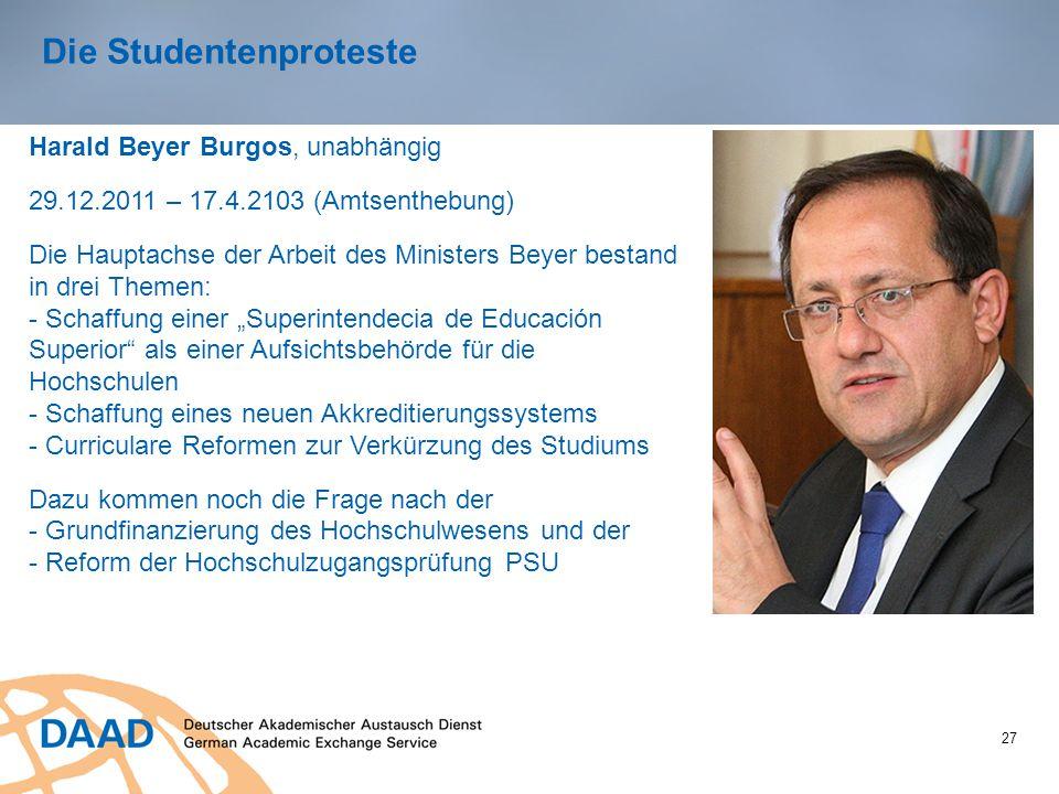 27 Die Studentenproteste Harald Beyer Burgos, unabhängig 29.12.2011 – 17.4.2103 (Amtsenthebung) Die Hauptachse der Arbeit des Ministers Beyer bestand