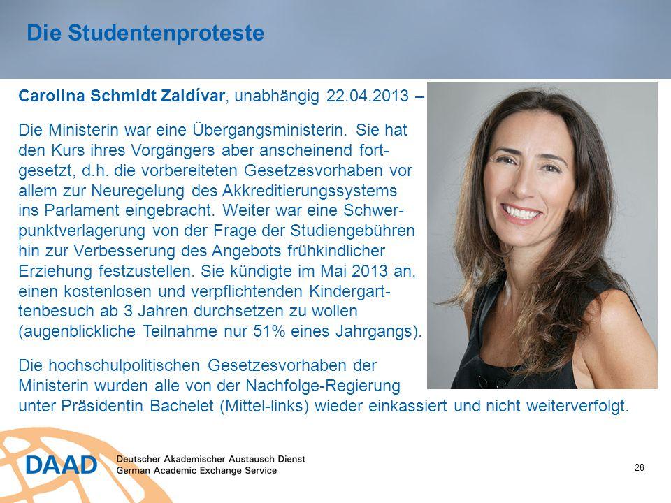 28 Die Studentenproteste Carolina Schmidt Zaldívar, unabhängig 22.04.2013 – Ende Februar 2014 Die Ministerin war eine Übergangsministerin. Sie hat den