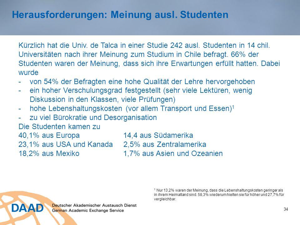 34 Herausforderungen: Meinung ausl. Studenten Kürzlich hat die Univ. de Talca in einer Studie 242 ausl. Studenten in 14 chil. Universitäten nach ihrer