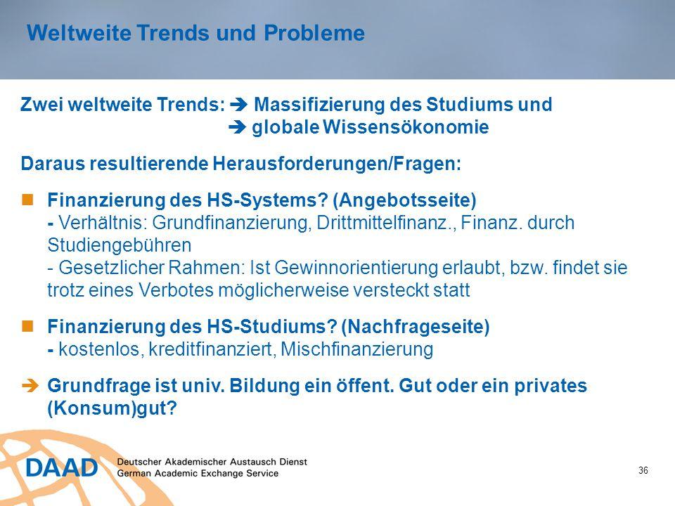 Weltweite Trends und Probleme 36 Zwei weltweite Trends:  Massifizierung des Studiums und  globale Wissensökonomie Daraus resultierende Herausforderungen/Fragen: Finanzierung des HS-Systems.