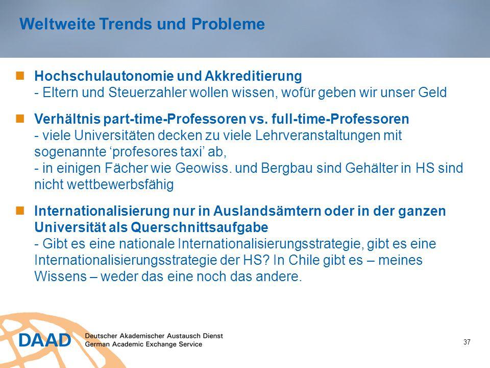Weltweite Trends und Probleme 37 Hochschulautonomie und Akkreditierung - Eltern und Steuerzahler wollen wissen, wofür geben wir unser Geld Verhältnis part-time-Professoren vs.