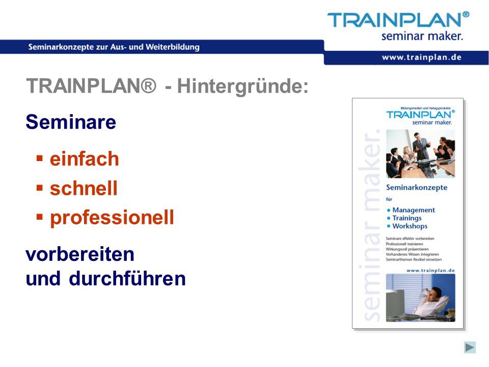 Folie 10 ©TRAINPLAN ® 2006 TRAINPLAN® - Hintergründe: Seminare  einfach  schnell  professionell vorbereiten und durchführen
