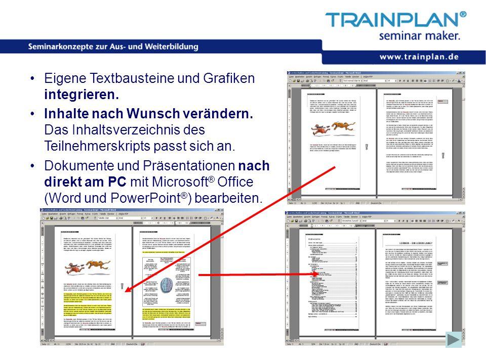 Folie 14 ©TRAINPLAN ® 2006 Eigene Textbausteine und Grafiken integrieren. Inhalte nach Wunsch verändern. Das Inhaltsverzeichnis des Teilnehmerskripts