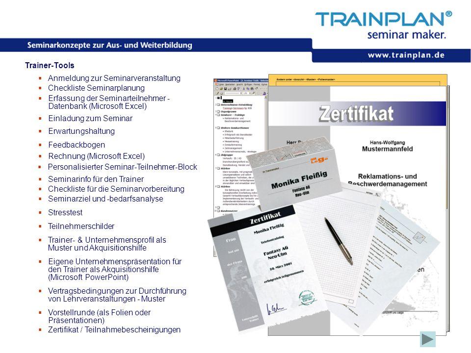 Folie 21 ©TRAINPLAN ® 2006 Trainer-Tools  Anmeldung zur Seminarveranstaltung  Checkliste Seminarplanung  Erfassung der Seminarteilnehmer - Datenban