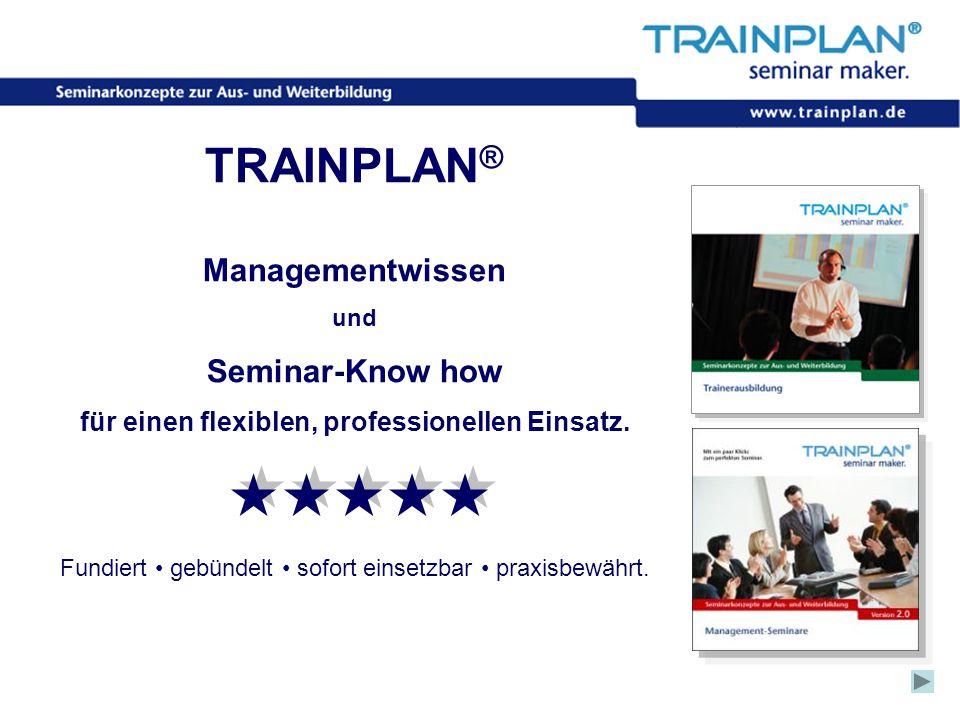 Folie 24 ©TRAINPLAN ® 2006 TRAINPLAN ® Managementwissen und Seminar-Know how für einen flexiblen, professionellen Einsatz. Fundiert gebündelt sofort e