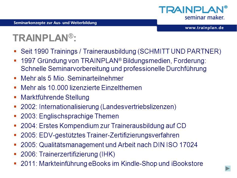 Folie 3 ©TRAINPLAN ® 2006 TRAINPLAN ® :  Seit 1990 Trainings / Trainerausbildung (SCHMITT UND PARTNER)  1997 Gründung von TRAINPLAN ® Bildungsmedien